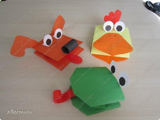 Оригами игрушка на руку для детей