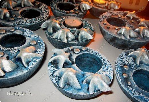 Поделка изделие Лепка Подсвечники Морские + много фото Гипс Краска фото 17
