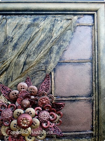 Картина панно рисунок Мастер-класс Ассамбляж Панно БУКЕТ ИЗ ПУГОВИЦ +МК Бисер Пуговицы Салфетки Тесто соленое фото 4
