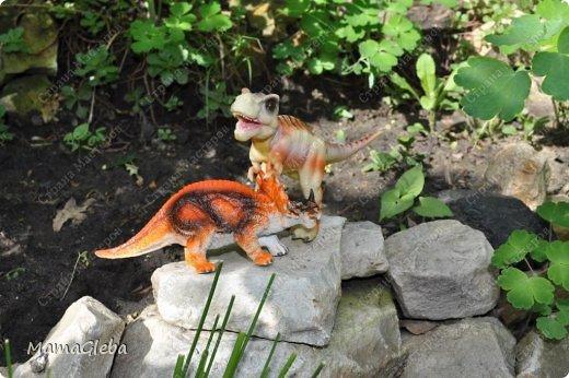 Иногда мы разыгрываем с сыном поучительные истории. Вот одна из них:-).     Было это в далёкие времена. Жили на одном острове динозаврики. И был среди них один самый грозный, с которым никто не дружил. Звали его Рекс. Он жил совсем один в каменной пещере, куда боялись показываться остальные жители острова. фото 5