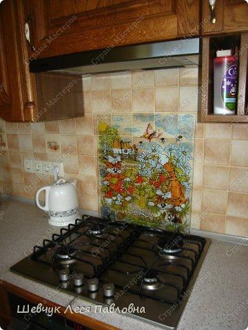 Привет Всем!Хочу поделиться с Вами идеями для удобного интерьеа в доме. Это рисунок витражными красками по стеклу,лицевая сторона.Стекло очень толстое. Я это стекло использовала к панельной плите. фото 3