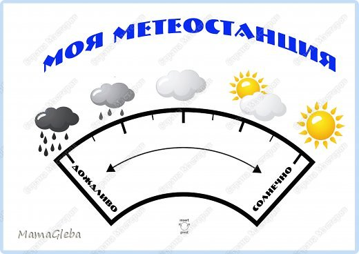Приветствую на своей страничке! Хочу поделиться, какая метеостанция появилась у нас с ребенком. Выполнено всё на папке от цветного картона. фото 8