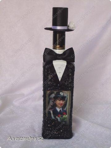 Вот такие бутылочки я сделала на заказ в подарок для мужчин. Вот эта для делового мужчины. фото 3