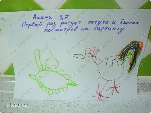 Добрый день! Делюсь с вами рисунками доченьки. Она очень любит рисовать фломастерами, красками не хочет, ими только раскрашивает. Вот такой милый ежик и забавный петушок получились у дочурки). На спине у ежика яблочко и грибочек. Рисует их в первый раз. Мне кажется, что для первого раза очень хорошо получились картинки. фото 1