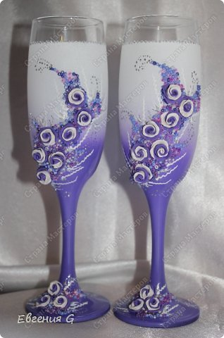 очередной заказ! мне конечно кажется, что фиолетового очень много, но -клиент всегда прав! к бокалам есть еще замочек, но фото пока нет. фото 1