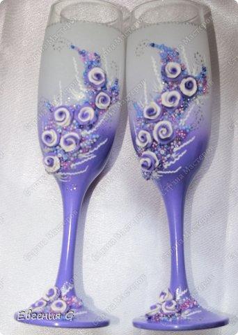 очередной заказ! мне конечно кажется, что фиолетового очень много, но -клиент всегда прав! к бокалам есть еще замочек, но фото пока нет. фото 2