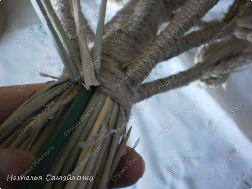 """Соломенный оберег - Дидух, символ хорошего урожая, мира и согласия в семье, достатка в доме. Само слово произошло от двух """"дух дедов"""". То есть дидух символизирует связь поколений. Дидуха начинали плести после сбора урожая и хранили до Рождества. В Святой вечер хозяин дома торжественно заносит его в дом, приговаривая: «Дідух до хати - біда із хати». Дидух состоит из трёх частей. Одна символизирует прошлое, вторая - настоящее, третья - будущее. Это моя вторая работа плетения Дидуха. Когда представила первую работу http://stranamasterov.ru/node/587311 в комментариях попросили МК....с радостью принялась за дело!!!:-) Размер Дидуха 40см, сплела его из маленьких колосков пшеницы, которые остались от первого Дидуха (55см). Колоски могут быть самые разные- ячменя, ржи, пшеницы...могут присутствовать и лекарственные растения. фото 14"""