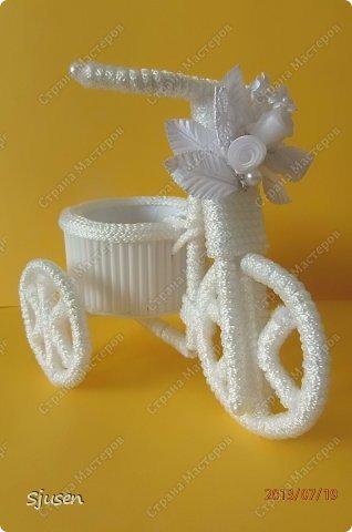 Доброго времени суток, милые мастерицы! Понадобилось мне сделать небольшой рукодельный презент на свадьбу - остановилась на велосипедике. фото 2