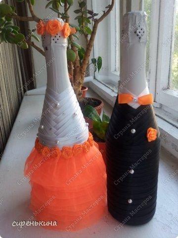 Декор предметов Свадьба Аппликация Новенькое Бисер Бумага Бусинки Бутылки стеклянные Кружево фото 2.
