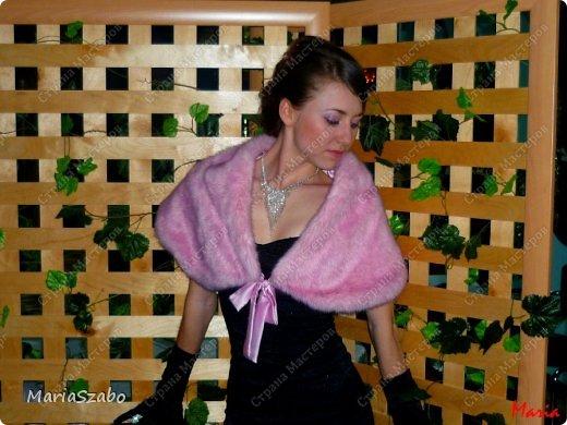 Платье было сшито специально на встречу Нового года. Платье из жаккарда, подол платья - мягкий фатин. Накидка сшита из искусственного меха, на подкладе из атласа. фото 2
