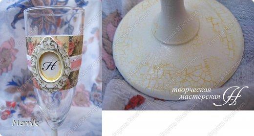 Всем доброго время суток! Недавно выполнила вот такой заказик.  Бокалы с инициалами жениха и невесты. фото 2