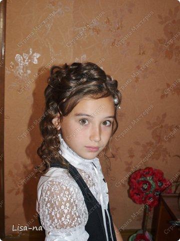 """Заколки казанши """"Утреннее сияние"""" украсили прическу дочки на первое сентября, прическу делала моя сестра. фото 4"""