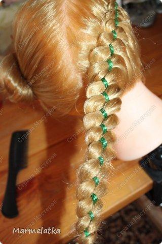 Варианты с лентой(коса из 4х прядей) фото 3