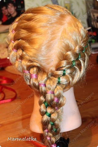 Варианты с лентой(коса из 4х прядей) фото 5