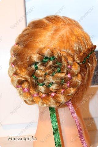 Варианты с лентой(коса из 4х прядей) фото 2