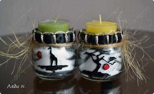 Декор предметов Мастер-класс Насыпание Роспись Подсвечники-насыпушки Африка знойная  Краска Соль фото 1