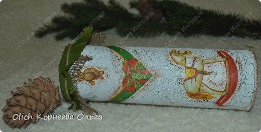 Декор предметов Мастер-класс Новый год Декупаж Кракелюр Банка к Новому году Клей Краска Салфетки фото 2