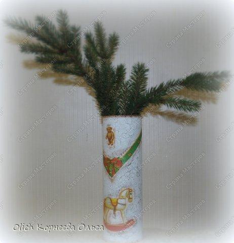Декор предметов Мастер-класс Новый год Декупаж Кракелюр Банка к Новому году Клей Краска Салфетки фото 4