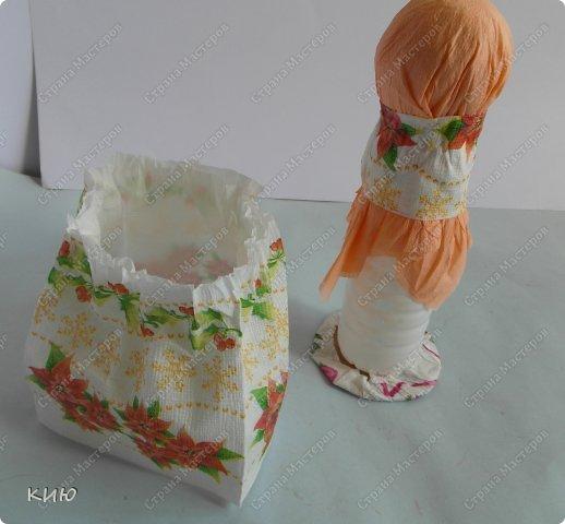 Куклы Мастер-класс Моделирование конструирование МК Аленка- кукпа из бумажных салфеток на бутылке  Салфетки фото 14
