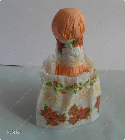 Куклы Мастер-класс Моделирование конструирование МК Аленка- кукпа из бумажных салфеток на бутылке  Салфетки фото 16