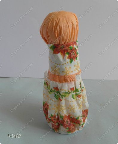 Куклы Мастер-класс Моделирование конструирование МК Аленка- кукпа из бумажных салфеток на бутылке  Салфетки фото 18