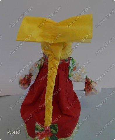 Куклы Мастер-класс Моделирование конструирование МК Аленка- кукпа из бумажных салфеток на бутылке  Салфетки фото 43