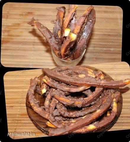 Получаются шоколадные апельсиновые цукаты. Очень вкусно  с  чаем!! фото 11
