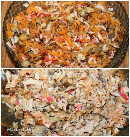 Салат и правда необычный, жареные крабовые палочки для меня лично что-то экзотическте, но мне понравилось . И укроп вносыт приятную нотку в салат. Попробуйте!!!))) фото 11