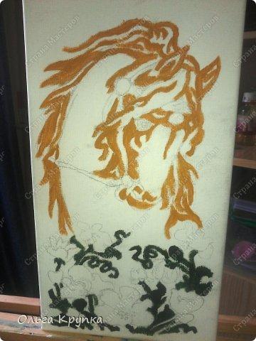 Картина панно рисунок Мастер-класс Новый год Аппликация Рисование и живопись МК инкрустированной картины Лошадка Скромняжка Краска Ткань фото 7