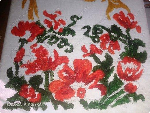 Картина панно рисунок Мастер-класс Новый год Аппликация Рисование и живопись МК инкрустированной картины Лошадка Скромняжка Краска Ткань фото 8