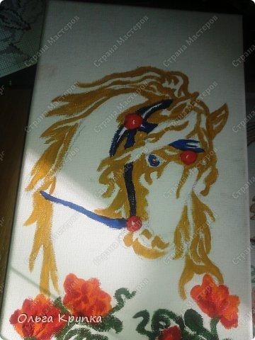 Картина панно рисунок Мастер-класс Новый год Аппликация Рисование и живопись МК инкрустированной картины Лошадка Скромняжка Краска Ткань фото 10