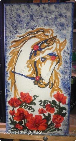 Картина панно рисунок Мастер-класс Новый год Аппликация Рисование и живопись МК инкрустированной картины Лошадка Скромняжка Краска Ткань фото 13