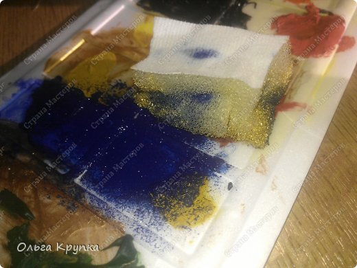 Картина панно рисунок Мастер-класс Новый год Аппликация Рисование и живопись МК инкрустированной картины Лошадка Скромняжка Краска Ткань фото 12