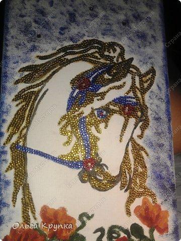 Картина панно рисунок Мастер-класс Новый год Аппликация Рисование и живопись МК инкрустированной картины Лошадка Скромняжка Краска Ткань фото 17
