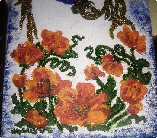 Картина панно рисунок Мастер-класс Новый год Аппликация Рисование и живопись МК инкрустированной картины Лошадка Скромняжка Краска Ткань фото 19