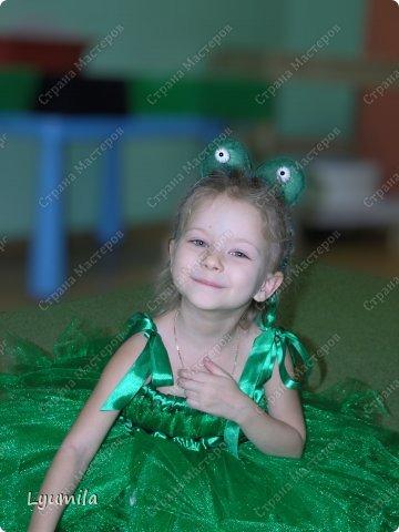 Добрый день! Сегодня у Лидочки в клубе Дед Мороз поздравлял детей и был праздник. Я сделала для неё (Лидочка помогала) костюм лягушки, который состоит из платья туту, (которое шьётся БЕЗ швейной машинки) и ободка с глазками. Далее фото с праздника фото 4