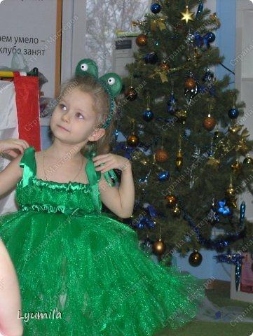 Добрый день! Сегодня у Лидочки в клубе Дед Мороз поздравлял детей и был праздник. Я сделала для неё (Лидочка помогала) костюм лягушки, который состоит из платья туту, (которое шьётся БЕЗ швейной машинки) и ободка с глазками. Далее фото с праздника фото 3