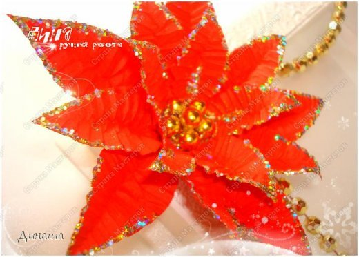 Добрый вечер, дорогие жители Страны мастеров и ее гости. Сегодня мое повествование посвящено пуансеттии или рождественской звезде (или малочаю прекраснейшему, как по-научному). Очаровательная рождественская звезда пуансеттия имеет длинную историю. Ацтеки - первые ценители пуансеттии, использовали ее красные прицветники в качестве естественного красителя для косметики и тканей, а белый сок рождественской звезды - для лечения лихорадки. Жители США узнали молочай прекраснейший благодаря стараниям Дж. Р. Пойнсетта (1779 - 1851) - врача и ботаника, которого президент Мэдисон назначил первым американским послом в Мексике. Настоящей страстью Пойнсетта была, однако, вовсе не политика, а ботаника. Впервые увидев молочай прекраснейший в цвету в Мексике в 1828 году, Пойнсетт тут же послал несколько образцов в свои оранжереи в Гринвиле (Южная Каролина), где позже стал размножать пуансеттию и рассылать образцы в ботанические сады. В 1830-х годах рождественская звезда попала в коммерческое производство и вскоре обрела известность под именем своего первооткрывателя - poinsettia (в русский язык название вошло как пуансеттия). Из Америки традиция покупать пуансеттию для украшения дома на Рождество попала в Европу. У нас эта традиция еще не на столько распространена, но это не уменьшает прелести цветка. фото 5
