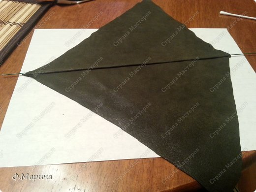 Картина панно рисунок Мастер-класс Ассамбляж Картина из кожи Зонтик с цветами Кожа фото 4