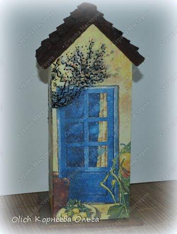 Декор предметов Мастер-класс Декупаж Чайный домик с деревянной крышей Дерево Клей Краска Салфетки фото 4