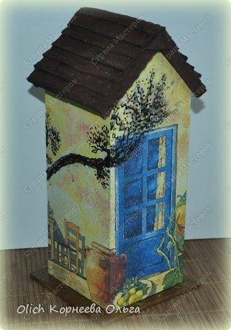 Декор предметов Мастер-класс Декупаж Чайный домик с деревянной крышей Дерево Клей Краска Салфетки фото 2