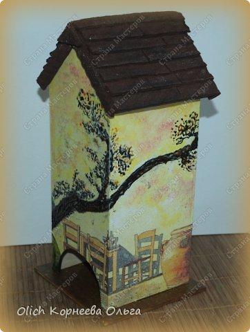 Декор предметов Мастер-класс Декупаж Чайный домик с деревянной крышей Дерево Клей Краска Салфетки фото 1