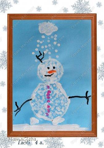 """Выкладываю накопившиеся рисуночки. Это Олаф, снеговик из мультика """"Холодное сердце"""". Глеб сам его таким придумал, я лишь посоветовала закрашивать точками (ватной палочкой) . Снежное облачко сам тоже придумал)))))"""