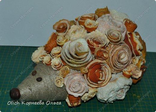 Мастер-класс Поделка изделие Моделирование конструирование Ежик в апельсиновых розах Бумага газетная Клей Кофе Материал природный Продукты пищевые Шпагат фото 13