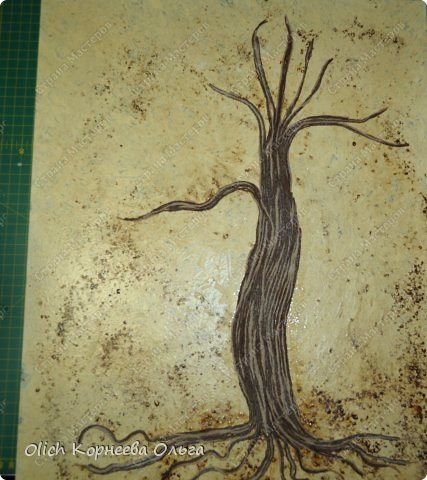 Картина панно рисунок Мастер-класс Моделирование конструирование Панно Апельсиновое дерево  Клей Кофе Краска Продукты пищевые Пряжа фото 7