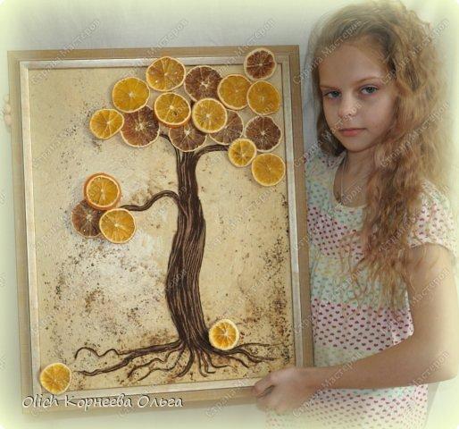 Картина панно рисунок Мастер-класс Моделирование конструирование Панно Апельсиновое дерево  Клей Кофе Краска Продукты пищевые Пряжа фото 1