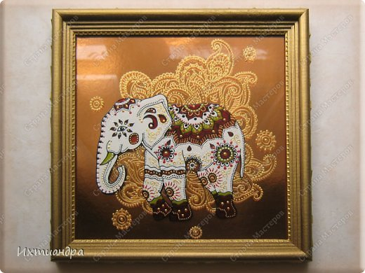 """Увлечение лепкой слонов из солёного теста https://stranamasterov.ru/node/625774 постепенно перешло в серию витражных картин, кои сейчас я и хочу Вам представить, дорогие друзья! Витражное панно """"Добрый слон"""" 22,5 * 22,5 см. фото 1"""
