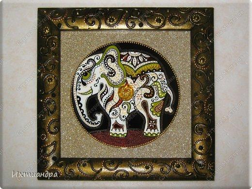 """Увлечение лепкой слонов из солёного теста https://stranamasterov.ru/node/625774 постепенно перешло в серию витражных картин, кои сейчас я и хочу Вам представить, дорогие друзья! Витражное панно """"Добрый слон"""" 22,5 * 22,5 см. фото 5"""