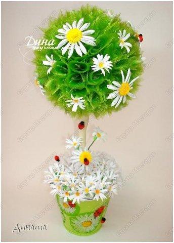 Добрый день, уважаемые жители Страны Мастеров! Сегодня делюсь с Вами своим новым топиарием. Крона сделана из флористической органзы, цветочки и букашки из бумаги в технике квиллинг. фото 5