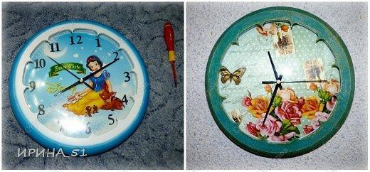 Здравствуйте! Сегодня представляю вам небольшой МК по переделке часов для начинающих. Часы у меня были с детской тематикой, т.к. доченька растет и планируется ремонт в ее комнате, решила переделать ей часы.  Салфетку выбирала дочка сама. Цвет часов тоже! Я была только исполнителем ее желаний ))) фото 1